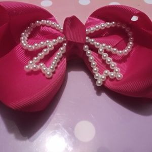 Set of 2 Pearl Bow Adorned Bows-Hot Pink & Blue